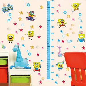 DIY Spongebob Height Measurement Cartoon Wall Stickers For Children -