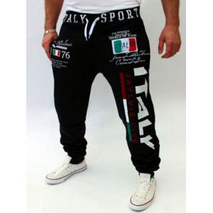 Lace-Up Flag and Letters Print Beam Feet Jogger Pants For Men