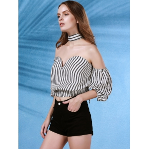 Stylish Strapless Flare Sleeve Off The Shoulder Striped Women's Blouse -