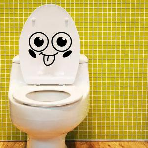 Smiling Face Pattern Toilet Wall Sticker - BLACK