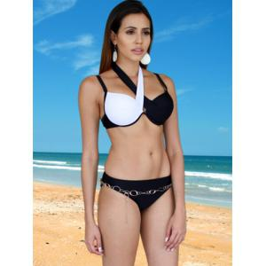 Brief Criss-Cross Patchwork Bikini Set For Women - WHITE/BLACK S