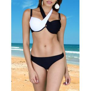 Brief Criss-Cross Patchwork Bikini Set For Women