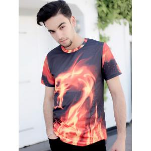 3D Fire Dragon Printed Round Neck Short Sleeve T-Shirt For Men -