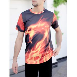 3D Fire Dragon Printed Round Neck Short Sleeve T-Shirt For Men