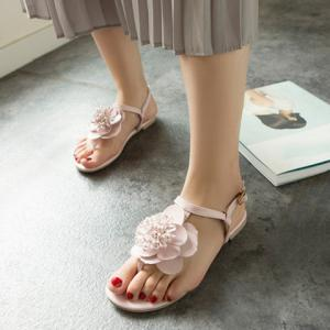 Simple Flat Heel and Flower Design Sandals For Women - PINK 39