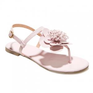 Simple Flat Heel and Flower Design Sandals For Women - Pink - 39