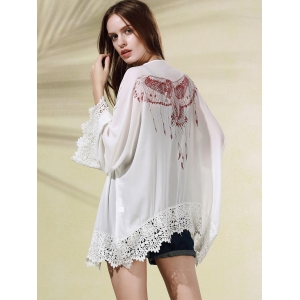 Stylish Long Sleeve Eagle Print Women's Cover Up -