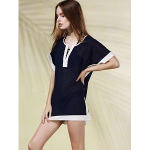 Stylish Plunging Neck Color Block Women's Cover Up Dress -
