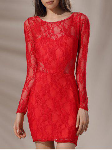Buy Mini Low Back Lace Long Sleeve Cocktail Dress RED S