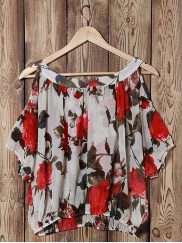 Outfit Fashionable Scoop Neck Off-The-Shoulder Floral Print Chiffon Women's Blouse - ONE SIZE OFF-WHITE Mobile