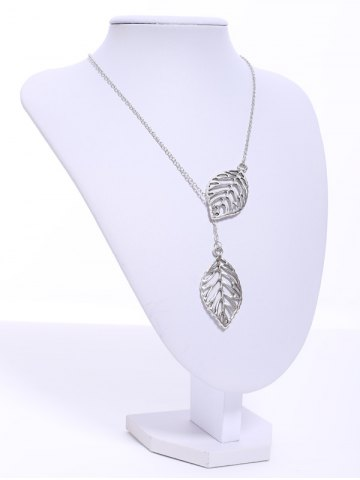 Unique Stylish Women's Openwork Leaf Pendant Necklace - COLOR ASSORTED  Mobile