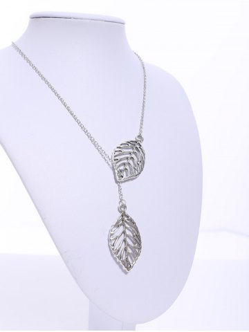 Fashion Stylish Women's Openwork Leaf Pendant Necklace - COLOR ASSORTED  Mobile