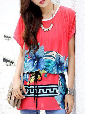 Hot Casual Floral Printed Loose-Fitting Belted Women's T-Shirt