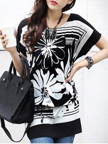 Fashion Casual Women's Floral Printed Loose-Fitting Belted T-Shirt