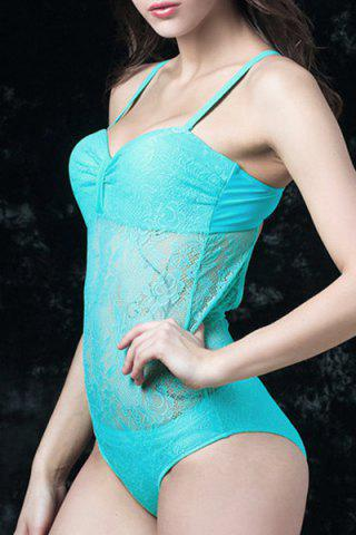 Best Graceful Spaghetti Strap Solid Color Lace Floral Hollow Out Swimwear For Women BLUE 4XL
