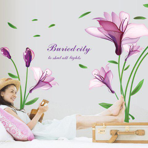 Outfit Elegant DIY Purple Mangnolia and Letters Pattern Wall Stickers For Home Decor