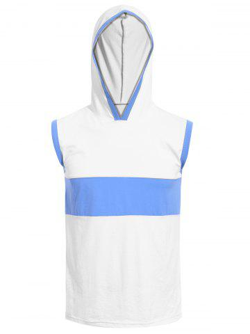 Vogue Hooded Color Splicing Tank Top For Men - White - 3xl