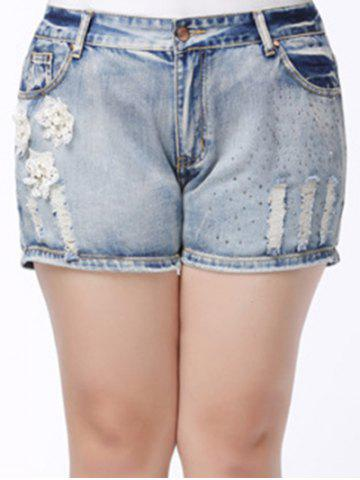 Outfit Trendy Plus Size Pocket Design Broken Hole Beaded Women's Shorts