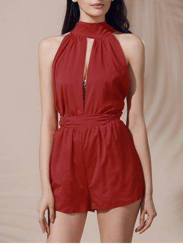 Buy Sleeveless High Waisted Open Back Cut Out Romper