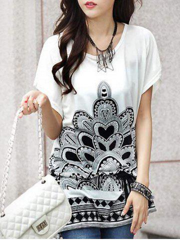 Chic Fashionable Women's Short Sleeve Floral Print Loose-Fitting T-Shirt