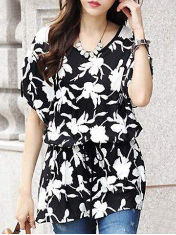 Latest Fashionable Women's Short Sleeve Floral Print Loose-Fitting Belted T-Shirt