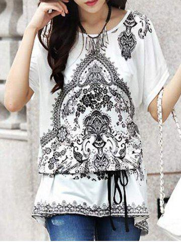 Fancy Ethnic Style Tribal Print Loose-Fitting Women's Belted T-Shirt