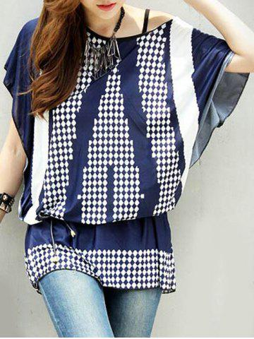 Unique Stylish Women's Batwing Sleeve Geometry Print Loose-Fitting T-Shirt