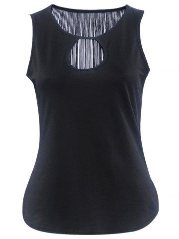 Outfits Simple Style Women's Cut Out Fringed Tank Top