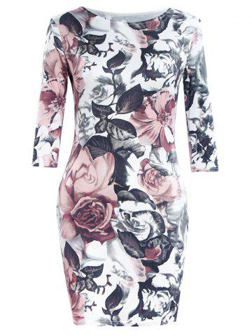 New Simple Style Women's Flower Print Round Neck Short Sleeve Dress COLORMIX S