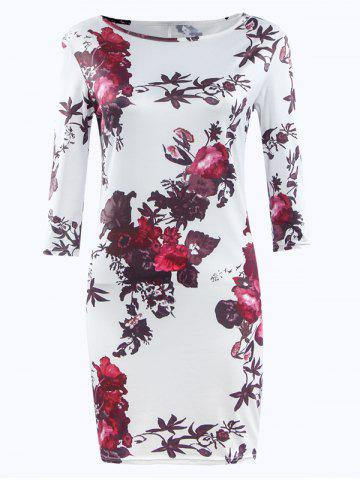 Buy Three Quarter Sleeve Floral Print Bodycon Dress