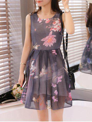 New Simple Style Women's Organza Floral Print Jewel Neck Sleeveless Black Dress