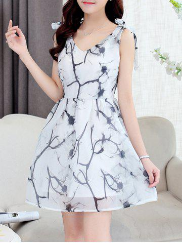 Buy Simple Style Women's Organza Print V Neck Sleeveless Dress