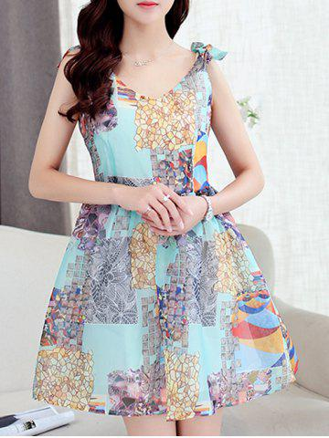 Hot Simple Style Women's V Neck Sleeveless Organza Print Dress