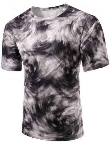 Shops Round Neck Abstract Print Short Sleeve Stylish T-Shirt For Men