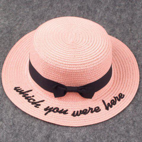 Cheap Bow Embroidery Hipsters Sun Hat with Writing - PINK  Mobile