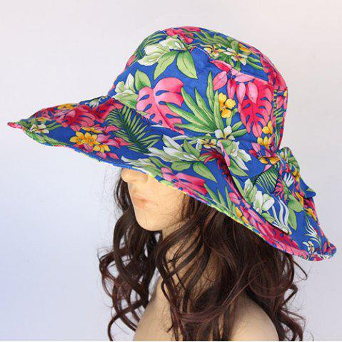 Best Chic Tropical Plant Pattern Big Bowknot Sun Hat For Women