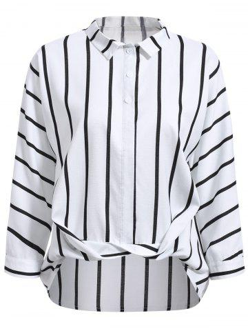 Affordable Fashionable Flat Collar Long Sleeve Striped Wrap Shirt For Women WHITE S