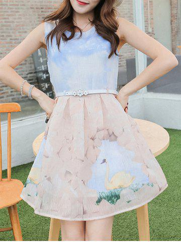 Affordable Simple Style Women's Belted Sleeveless Organza Colorful Swan Print Dress