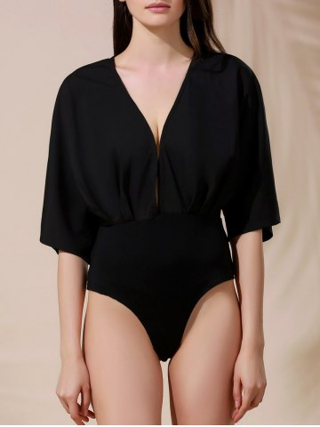 Plunging Neck Half Sleeves Solid Color Romper For Women