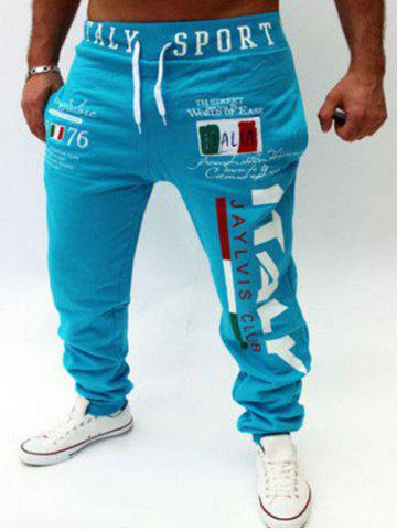 Latest Lace-Up Flag and Letters Print Beam Feet Jogger Pants For Men LAKE BLUE 2XL