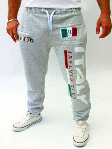 Buy Lace-Up Flag and Letters Print Beam Feet Jogger Pants For Men LIGHT GRAY XL