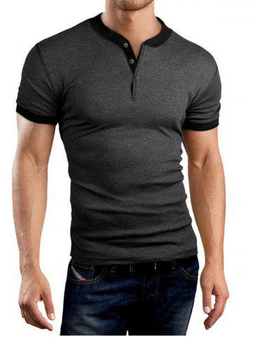 Fancy Buttons Embellished Solid Color Short Sleeve T-Shirt For Men DEEP GRAY M