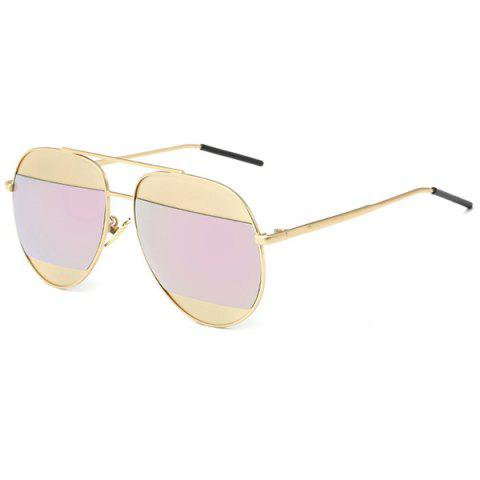 Shop Stylish Two Color Match Lenses Hipsters Sunglasses For Unisex Aviator - PINK  Mobile