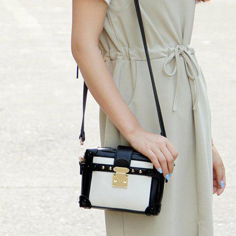 Buy Vintage Color Block and Hasp Design Crossbody Bag For Women - WHITE AND BLACK  Mobile