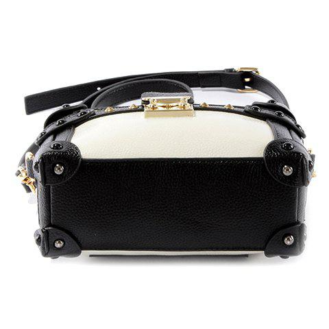 Outfits Vintage Color Block and Hasp Design Crossbody Bag For Women - WHITE AND BLACK  Mobile