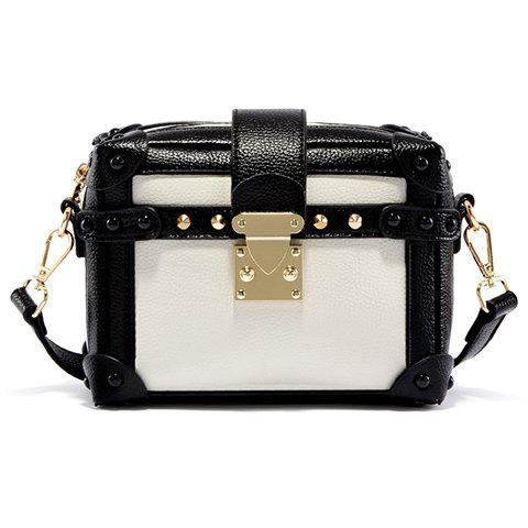 Store Vintage Color Block and Hasp Design Crossbody Bag For Women