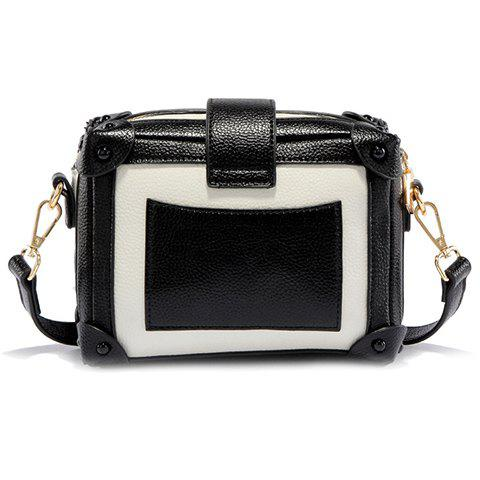 Cheap Vintage Color Block and Hasp Design Crossbody Bag For Women - WHITE AND BLACK  Mobile