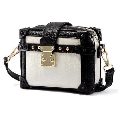 Unique Vintage Color Block and Hasp Design Crossbody Bag For Women - WHITE AND BLACK  Mobile