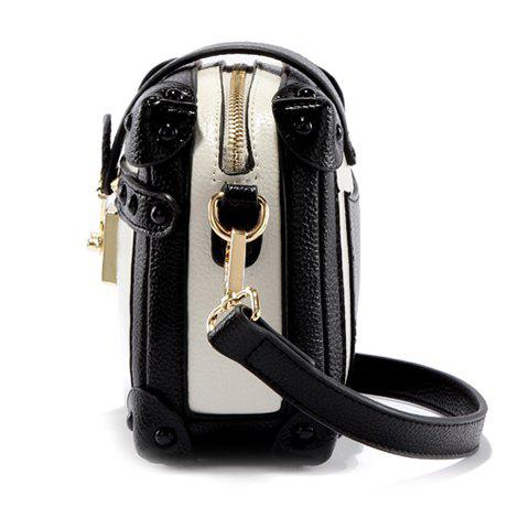 Fashion Vintage Color Block and Hasp Design Crossbody Bag For Women - WHITE AND BLACK  Mobile