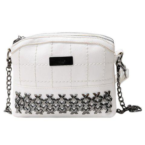 Unique Simple Metal and Chain Design Crossbody Bag For Women - WHITE  Mobile